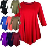 Womens Ladies 3/4 Sleeve Swing Dress Top Tunic Plain Baggy Loose V-Cut Trim 8-26