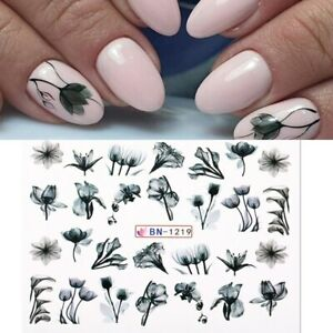 Nail Art Water Decals Transfers Black Water Effect Flowers Floral Tulips (1219)