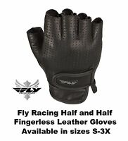 Fly Racing Leather Half and Half Fingerless Gloves Pre Cut Tips Cruiser Chopper