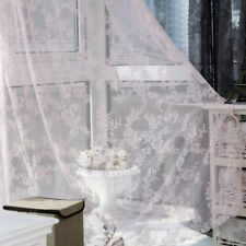 Window Floral Lace Sheer Curtain Rod Curtain Panel 150*180cm Room Voile Curtain