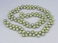 Fresh Water Pearl 4x7mm Olive Green Top Drilled Oval Beads  15''