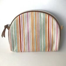 "El Portal Striped Fabric w Leather Accent Cosmetic Bag 7.25""x6""x1"" Makeup Travel"