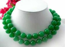 PRETTY 10MM NATURAL GREEN JADE GEMSTONE BEADS NECKLACE 36 Inches Long