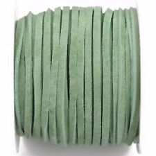 """25yd 1/8"""" Flat Suede Leather Lace, Fresh Green, Realeather 3mm, Lth0036"""