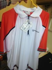SERGIO TACCHINI POLO TENNIS TOPS IN  WHITE/orange vintage MED or x/l AT £18