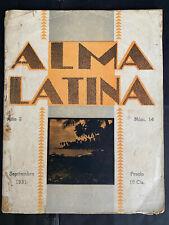 Puerto Rico 1931, Revista ALMA LATINA #14, Mencion medalla Exposicion 1871, 72pg