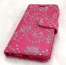 iPhone 6+/6S+ Plus Leather Card Wallet Pouch Case Cover Hot Pink Glitter Flower