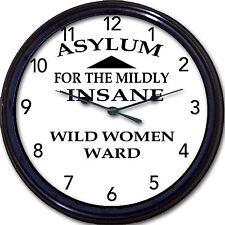 """Asylum for the Mildly Insane   Wild Women Ward   Wall Clock Psychiatry 10"""""""