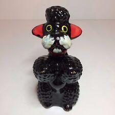 """Large Vintage Ceramic Black Poodle Dog Figurine Salt / Pepper Shaker - 6"""" Tall"""