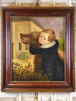 Antique Dutch painting of child and dog