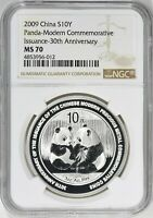 China 2009 Silver NGC MS70 Panda Modern Commemorative Issuance 30th Anniversary