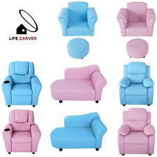 Kids Sofa Armchair Children Baby Seat PU Playroom Bedroom Footstool/  Recliner