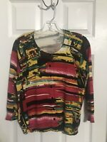 """Women's size Lg multi colored button front 3/4"""" sleeve sweater"""