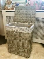 Brand New Unique Rustic Grey Wicker Baskets Woven Rattan Retro Polka Dot Lining