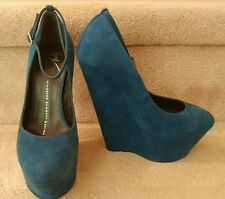 Giuseppe Zanotti Blue Suede Platform Mary Jane Wedge, NEW Size 35.5