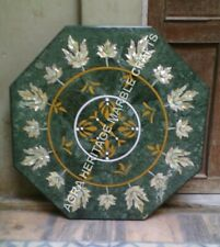 "24"" Green Marble Coffee Outdoor Table Top Abalone Inlay Kitchen Home Decor H3485"