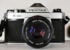 Vintage PENTAX K1000 Asahi SLR 35MM Film Camera w/ Pentax-M 1:2 50mm Lens