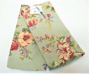 Set/2 April Cornell Cotton Kitchen Tea Towels Floral Pinks Grey-Green - NEW