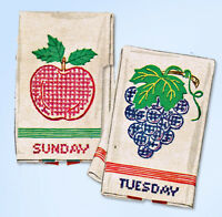 1950s Vintage McCall Embroidery Transfer 1698 Uncut DOW Fruit Ranch Tea Towels