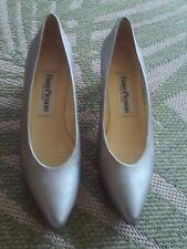 """Vintage Evan-Picone Silver Metallic Leather heels pumps 8.5 N 2"""" heel Mint"""