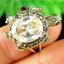 Wrapped Faceted White Titanium Crystal Rhinestone Turtle Pendant Ring F75533