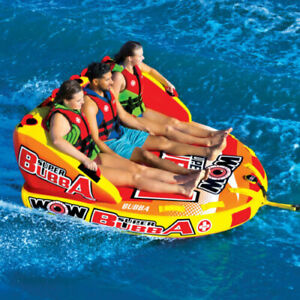 WOW Watersports Super Bubba HI-VIS 3 Rider Inflatable Tube Boat Towable 17-1060