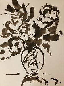 JOSE TRUJILLO Impressionism Black INK WASH on Paper Collectible Flowers Bouquet