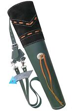 NEW TRADITIONAL FINE GREEN MILD LEATHER BACK ARROW QUIVER ARCHERY PRODUCT AQ163G