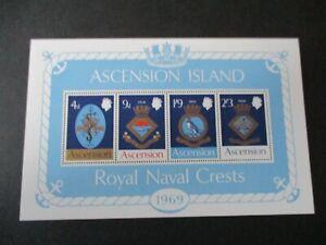 Ascension 1969 Royal Naval Crests MS MS125 MNH UM unmounted mint