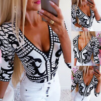 Women Sexy V-Neck T-Shirt Top Ladies Floral 3/4 Sleeve Slim Shirt Blouse Casual