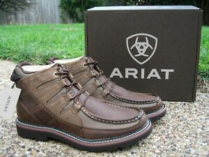 NEW Mens ARIAT EXHIBITOR Brown Leather Lace Up Casual Mid Ankle Boots 10019865