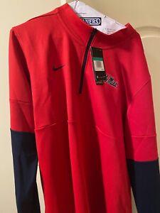 Nike Dri-Fit Red Ole Miss Rebels 1/4 Zip Pullover Jacket Men's Size XL