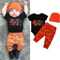 Halloween Toddler Baby Boy Girl Clothes Romper Jumpsuit + Long Pants Outfits Set