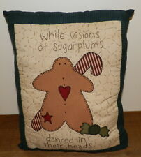 HANDMADE Christmas PILLOW Gingerbread Man QUILTED While Visions of Sugar Plums