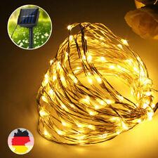 10M 100 LED Solar Lichterkette Drahtlichterkette Außen Garten Weihnachten Deko