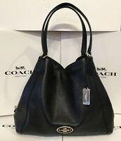 COACH EDIE 31 Hobo Leather Shoulder Bag Satchel Purse 33547 Black Gold Handbag