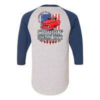 2019 Cruisin Ocean City official car show t-shirt gray/blue raglan MD patriotic