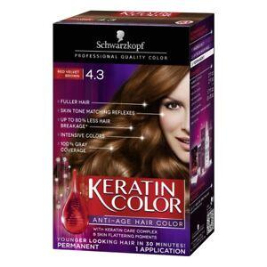 Schwarzkopf Keratin Color Anti-Age Permanent Hair Color, #4.3 Red Velvet Brown