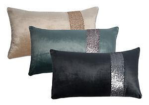 "14"" x 24"" Zippered Cotton Blend Velvet Sequin Stripe Throw Pillow Shell Cover"