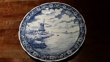 "Vintage Delft Boch Dutch River Windmill Scene 15 1/2"" Wall Plate Charger Hanging"