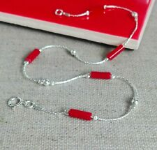 Red natural CORAL  ANKLET 925 Sterling Silver chain Ankle Bracelet Made in UK