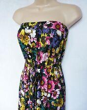 383015de4c BNWT NEXT Bandeau summer tie waist black Sunflower floral soft maxi dress  20 22