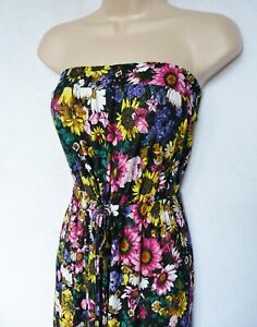 BNWT NEXT Bandeau summer tie waist black Sunflower floral soft maxi dress 12/14