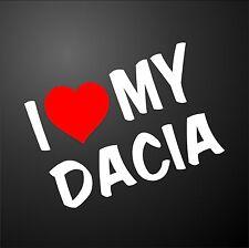 Amo il mio DACIA DUSTER LOGAN 4X4 Auto Paraurti Finestra Adesivo grafica ruote in lega