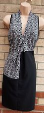 NEXT WHITE BLACK RED SPOTTY ABSTRACT V NECK BAGGY TUNIC SHIFT SMOCK TEA DRESS 10