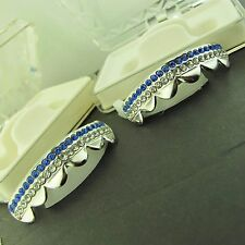 GRILLZ SILVER  CZ TWO ROW BLUE and WH ITE TOP GRILLS L019WB SET OF 2Pcs
