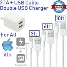 2.1A Double USB Wall charger & 3,6,10ft Long USB cable for iphone [ST2