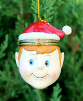 Porcelain Elf Surprise Holiday Gift Box Ornament Fast Free Shipping Christmas