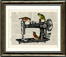 Old Book page Art Print-Birds on a Vintage Sewing Machine Dictionary Page print