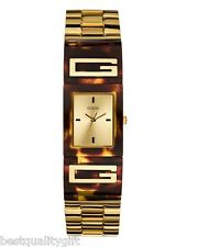 GUESS GOLD & TORTOISE RESIN LOGO BROWN ADJUST LINK BRACELET WATCH-U12633L1-NEW